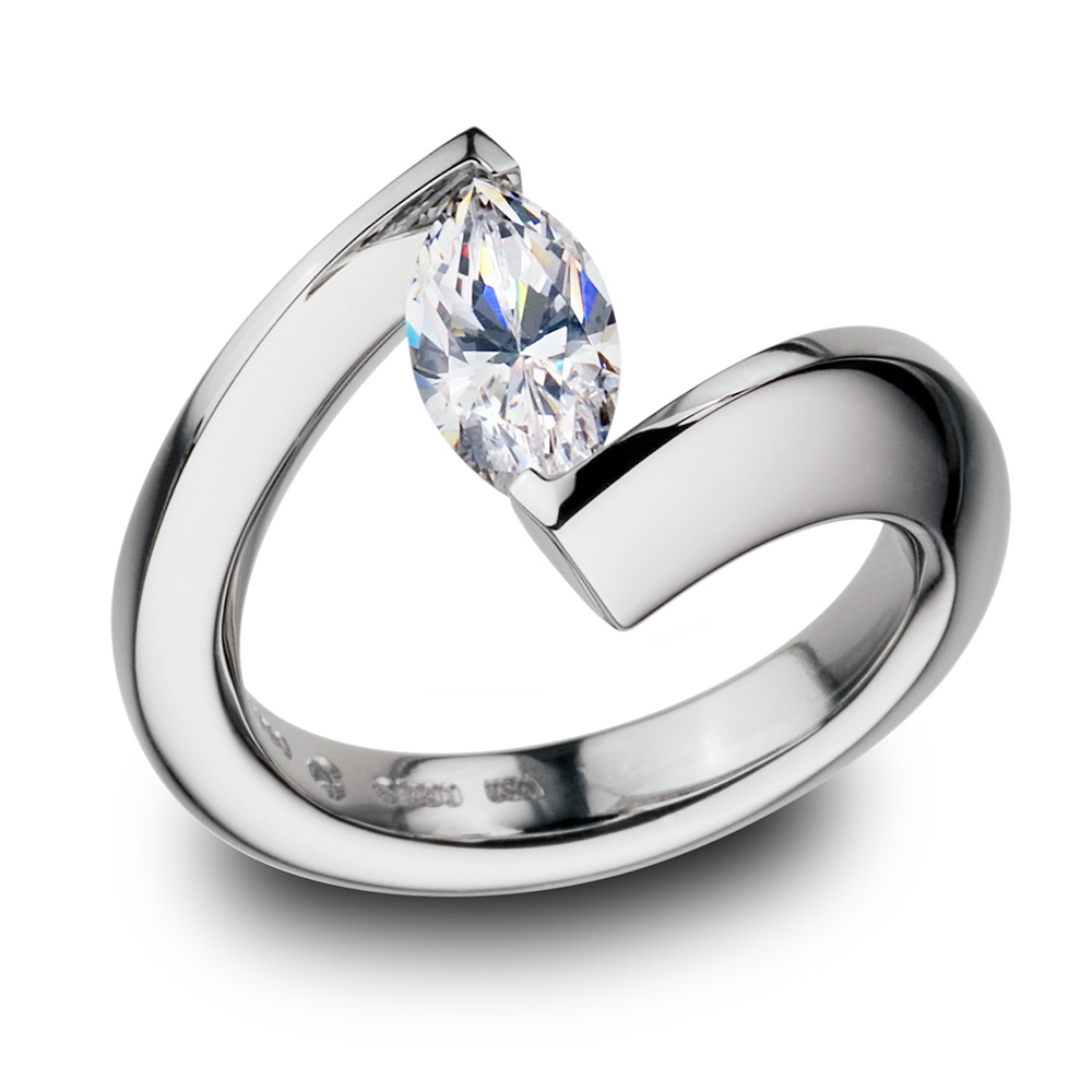 Bar Setting Diamond Gold Engagement Ring Women Excel Jewellers Surrey Canada Langley Vancouver